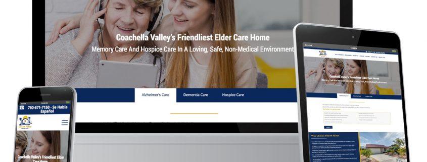Photo of custom one page website design for Desert Palms Elder Care