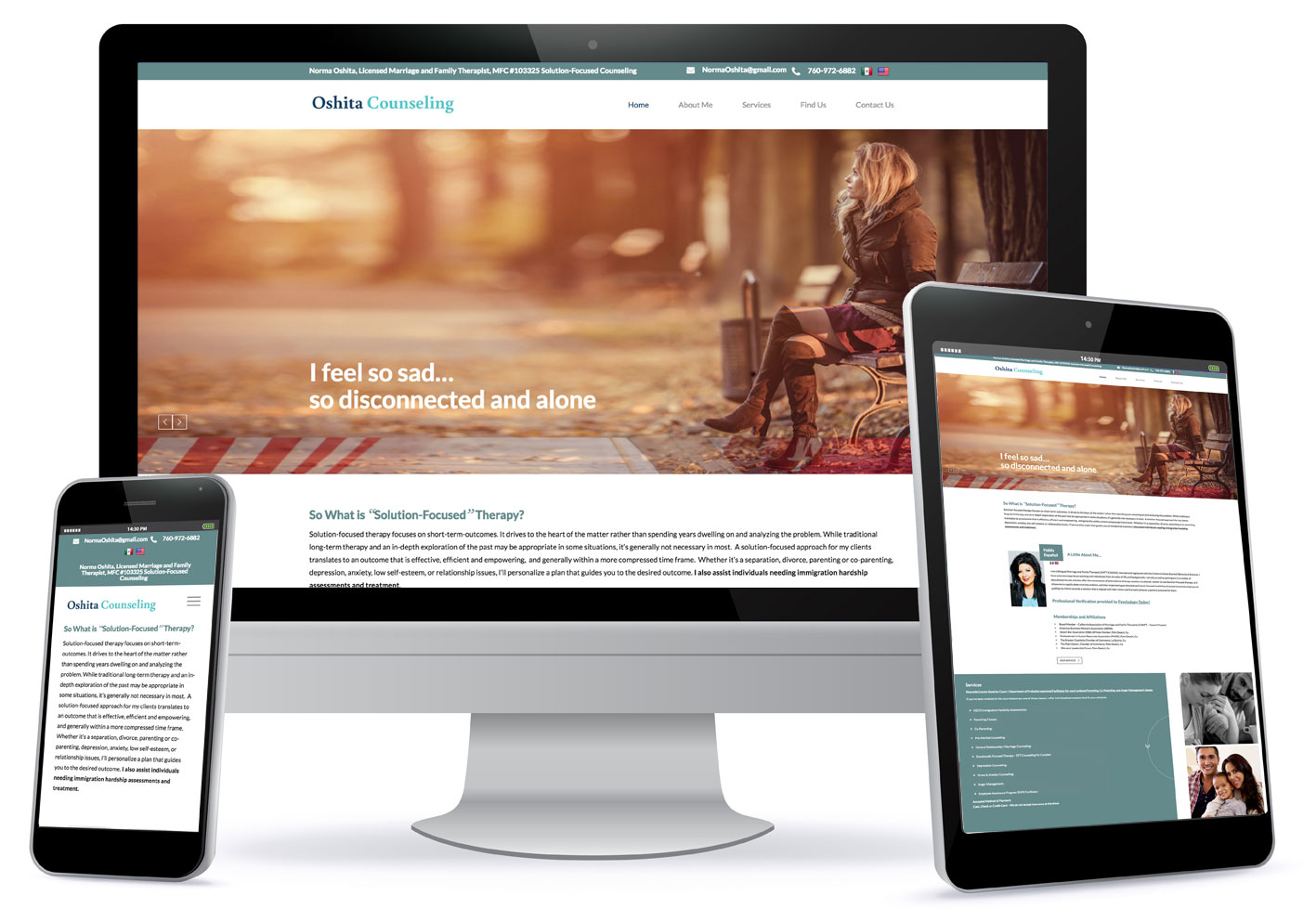 Photo of custom one page website design for Oshita Counseling