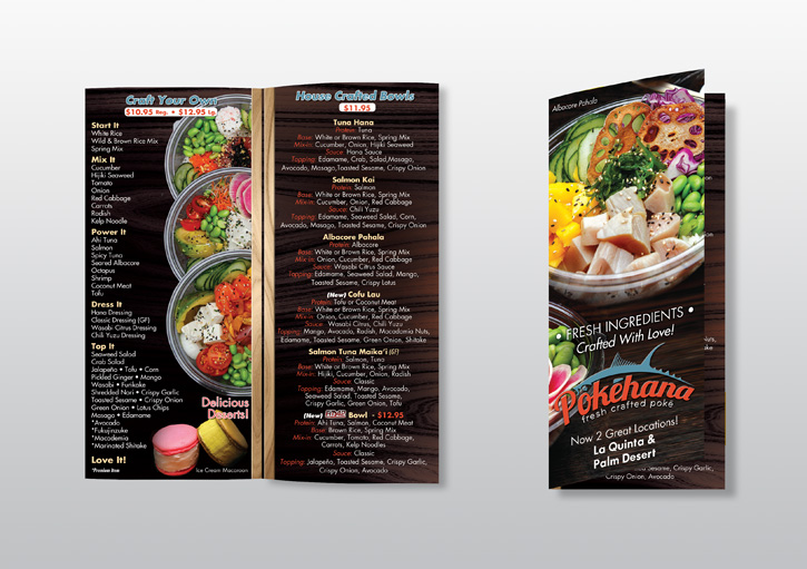 Photo of 2 Panel Menu Design for Pokéhana