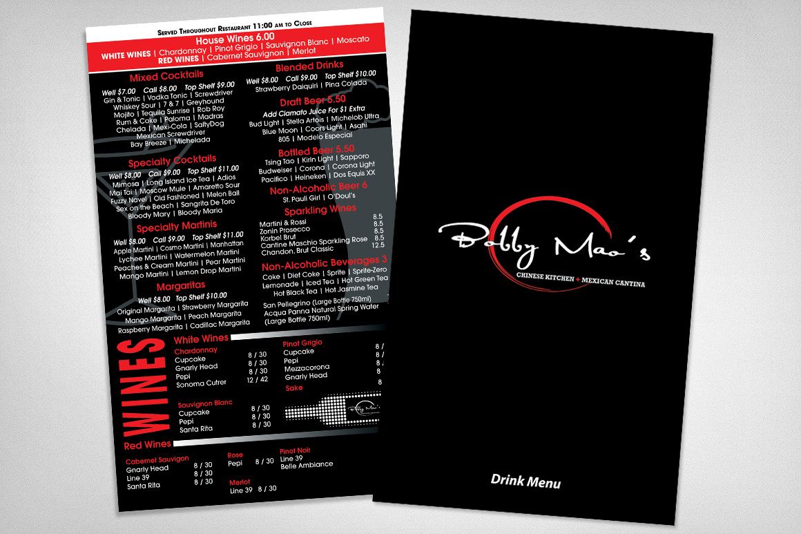 Photo of drink menu designed for Bobby Maos Henderson Nevada