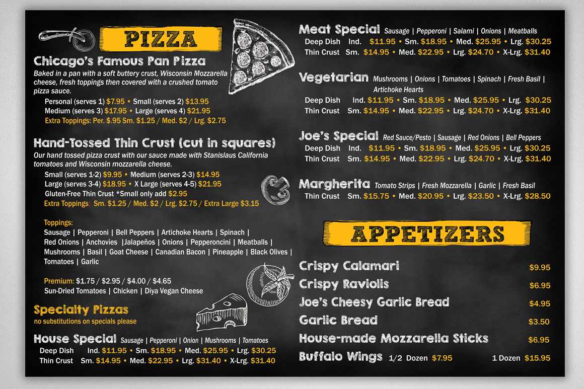 Photo of Menu Board design for Giuseppes Pizzeria